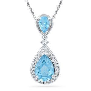NWOT Shaped Blue Topaz & Diamond Accent